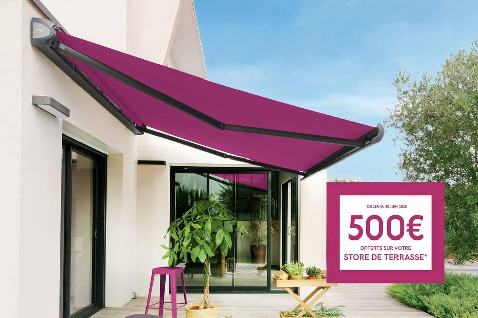 Du 1er au 30 juin jusqu'à 500€ offerts sur votre store de terrasse