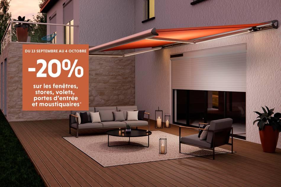 -20% sur les fenêtres, stores, volets, portes d'entrée et moustiquaires