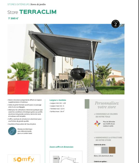 Store de terrasse Teraclim