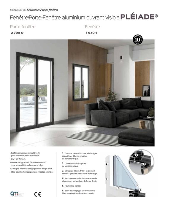 Porte-fenêtre aluminium Pléiade