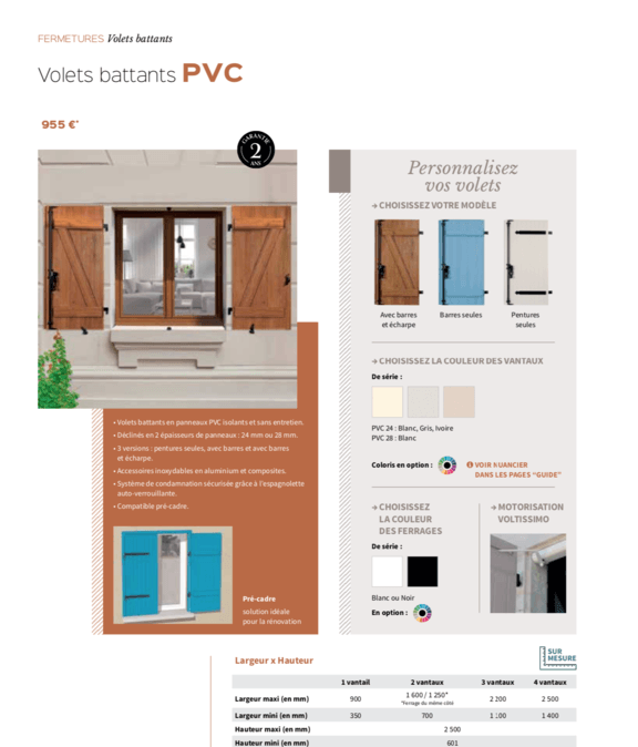 Volets battants en PVC