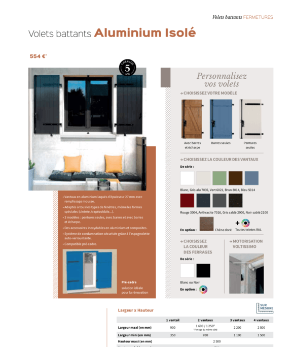 Volets battants aluminium Isolé