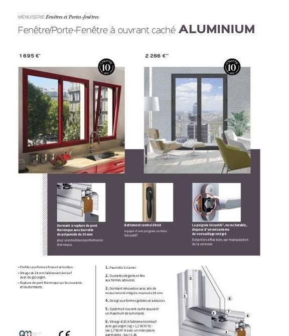Porte-fenêtre à ouvrant caché aluminium